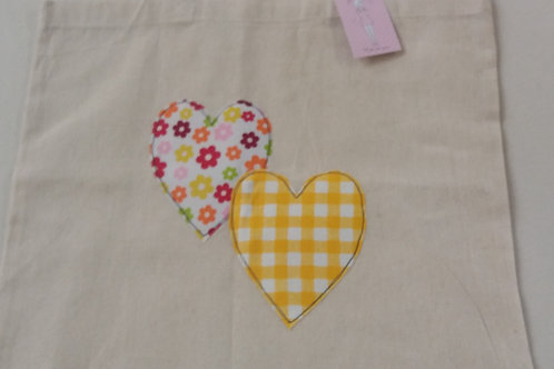Calico Heart tote bag yellow gingham (CYG)