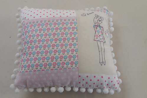 floral pink lozzy loo book/kindle cushion (LLCFP)