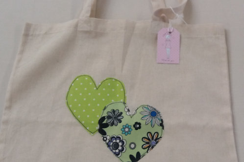 Calico Heart tote bag (lime spot) (CLS)