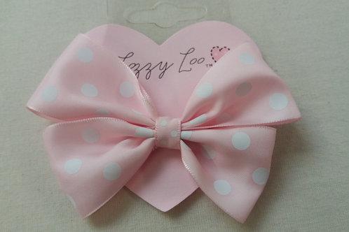 Pale pink polka dot pinwheel bow (BPPPW)