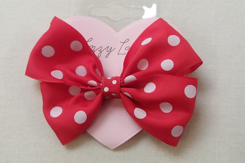 Red polka dot pin wheel bow (BRPW)