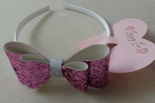 Dark Pink glitter bow alice band (ABP)