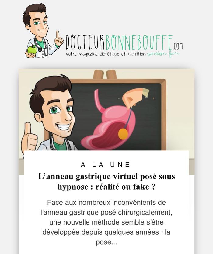 L'anneau gastrique virtuel sous hypnose : réalité ou fake ? Collaboration avec le magasine web &