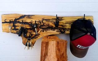Fractal Burned Coat Rack with Key Hooks.