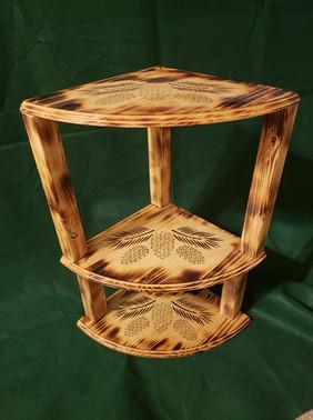 Wooden Corner Shelf with Custom Wood Bur