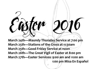 Holy Week and Easter Services 2016