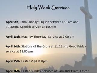 Holy Week 2017 Worship Schedule