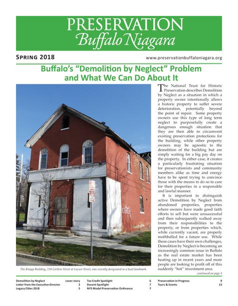 Preservation Buffalo Niagara Spring 2018 Newsletter