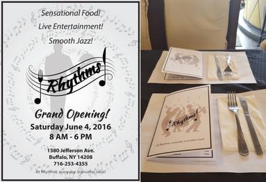 Rhythms Restaurant Grand Opening Flyer and Menus