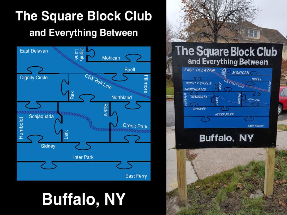 Square Block Club Logo & Signage