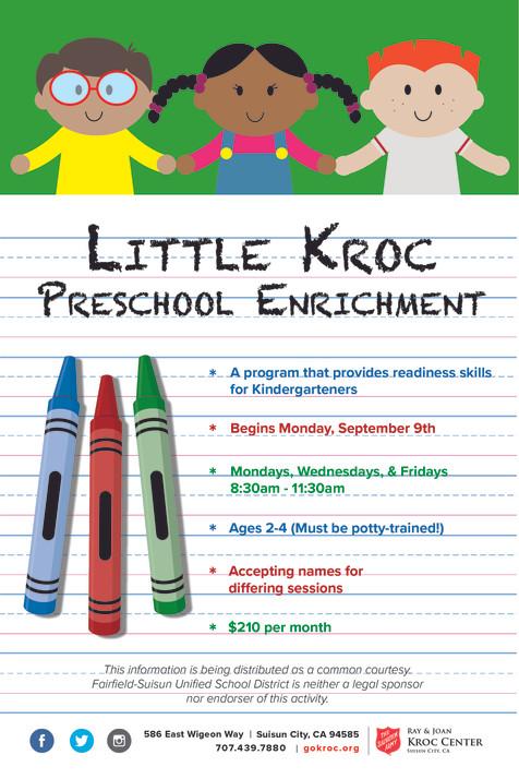 Little Kroc Preschool Enrichment Flyer