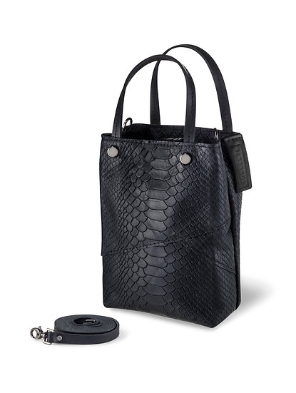 Black croco mini shopping bag