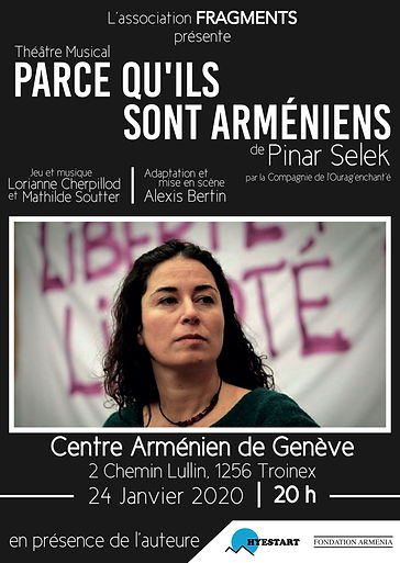 """Affiche de la soirée Hyestart à Troinex autour de la pièce adaptée du livre """"Parce qu'ils sont arméniens"""" de Pinar Selek"""