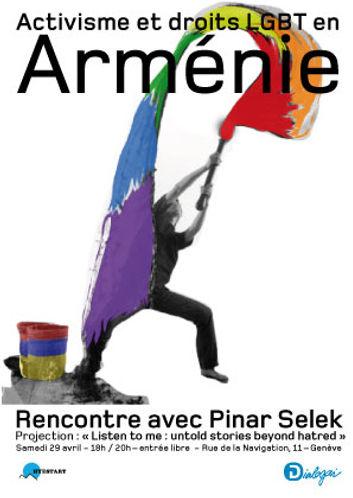 Flyer de la soirée Hyestart à Dialogai sur les droits LGBT en Arménie avec Pinar Selek, Alain Navarra et Alexis Krikoria. Projection de Listen to me suivie d'un débat.