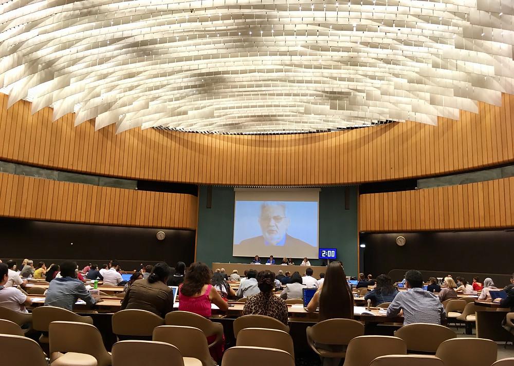 Placido Domingo addressing the UN Seminar on Cultural Rights (Geneva, July 2017)