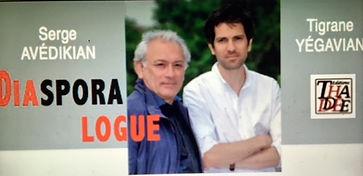 "Presentation of Serge Avedikian and Tigrane Yegavian's book ""Diasporalogue"" at the Hagop D. Topalian Center. Troinex. Hyestart."