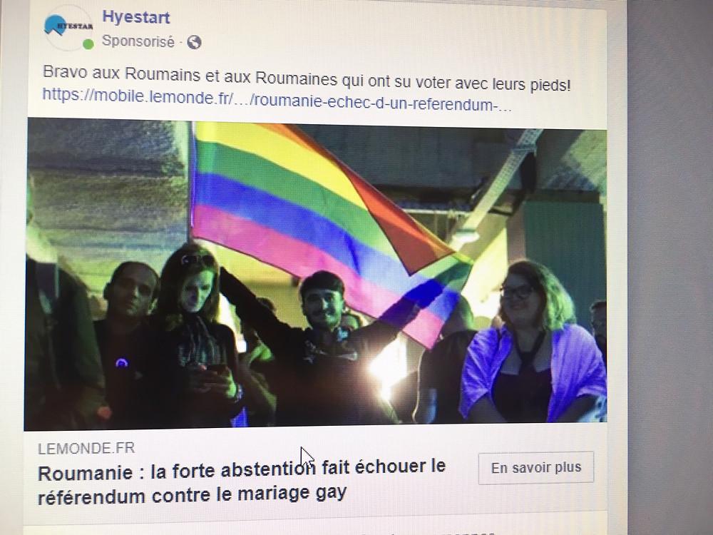 Acception d'une publicité sur le marriage gay suite au retrait des Etats-Unis du ciblage