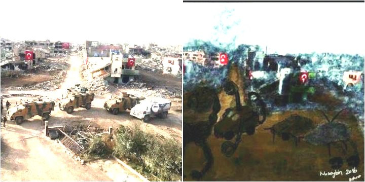 Picture of Nusaybin taken by the Turkish Army (Right), Painting by Zehra Dogan it is baed on (Left)