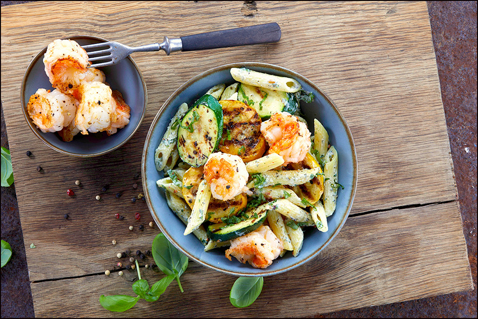 013_Penne with Grilled Zucchini, Shrimp,