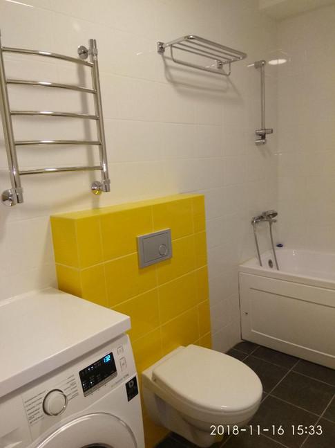Gorsanteh. Установка полотенцесушителя, чаши и кнопки инсталляции.