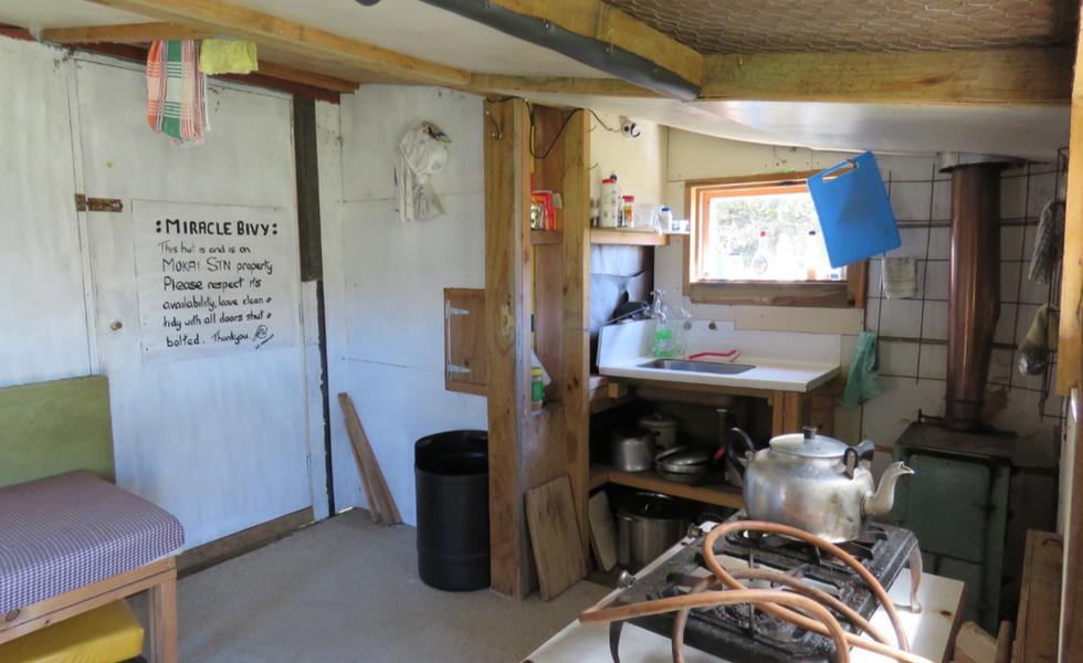 Interior of the hut