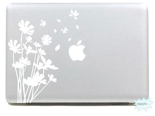 Custom Flowers Sticker, Macbook Sticker, Personalized Stencil
