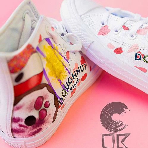 Custom Converse All Star Leather Hi-Top (Doughnut Time)