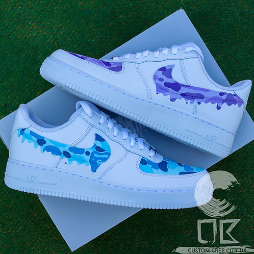 Custom Nike Air Force 1 Low (Lilac and Baby Blue Bape)