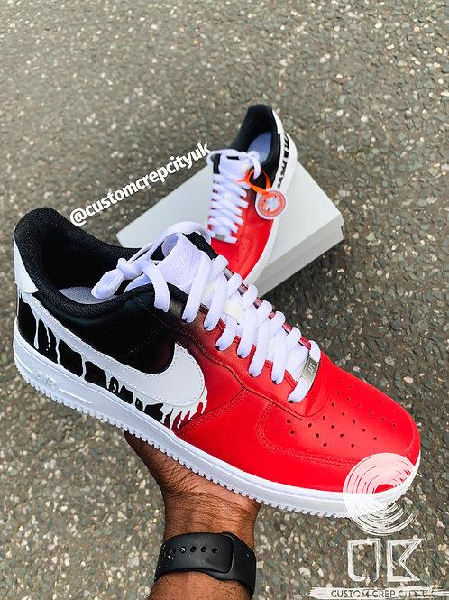 Custom Nike Air Force 1 Low (Red Ombré Drip)