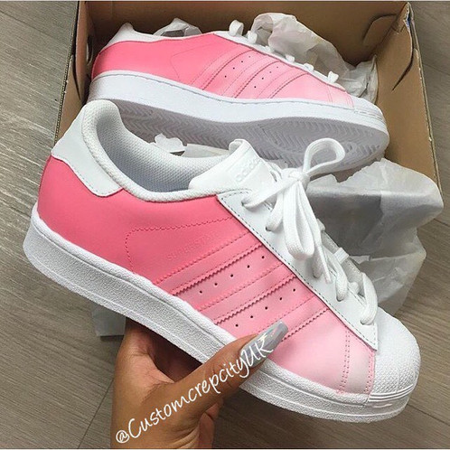 8fc36e071840 Custom Adidas Superstars (Candy Floss)