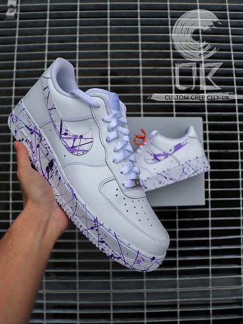 Custom Nike Air Force 1 Low (Purple Paint Splatter)