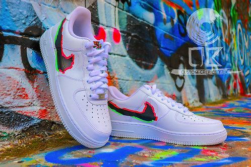 Custom Nike Air Force 1 Low (White Glitch FX)