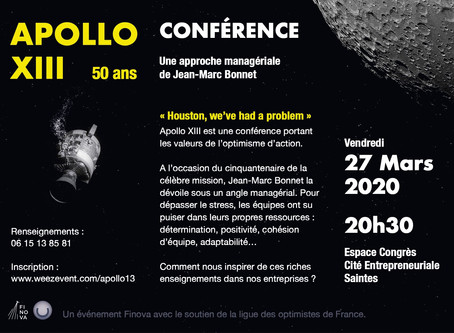 APOLLO XIII : nouvelle conférence le 27 mars à Saintes