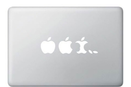 Custom Eaten Apple Sticker, Macbook Sticker, Personalized Stencil