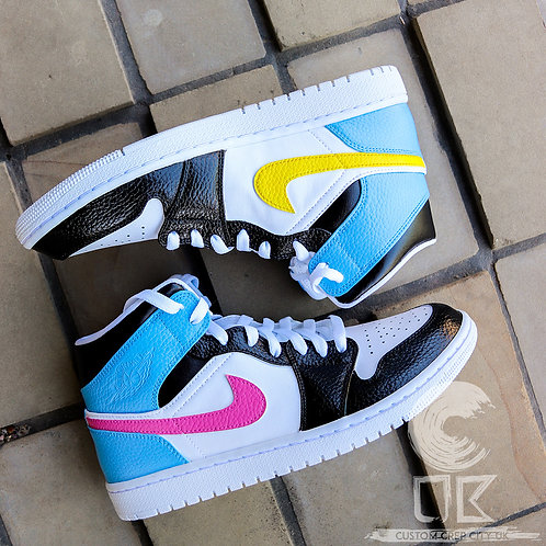 Custom Air Jordan 1 Mid (Black, Blue, Pink & Yellow)