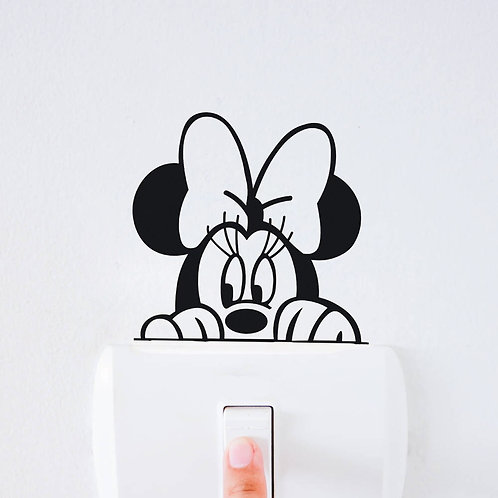 Minnie Mouse Custom Decal, Wall Switch Sticker, Wall Plug Decal