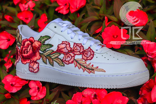 Custom Nike Air Force 1 Low (Red Rose Embroidery)