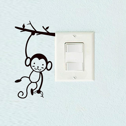 Hanging Monkey Custom Decal, Wall Switch Sticker, Wall Plug Decal