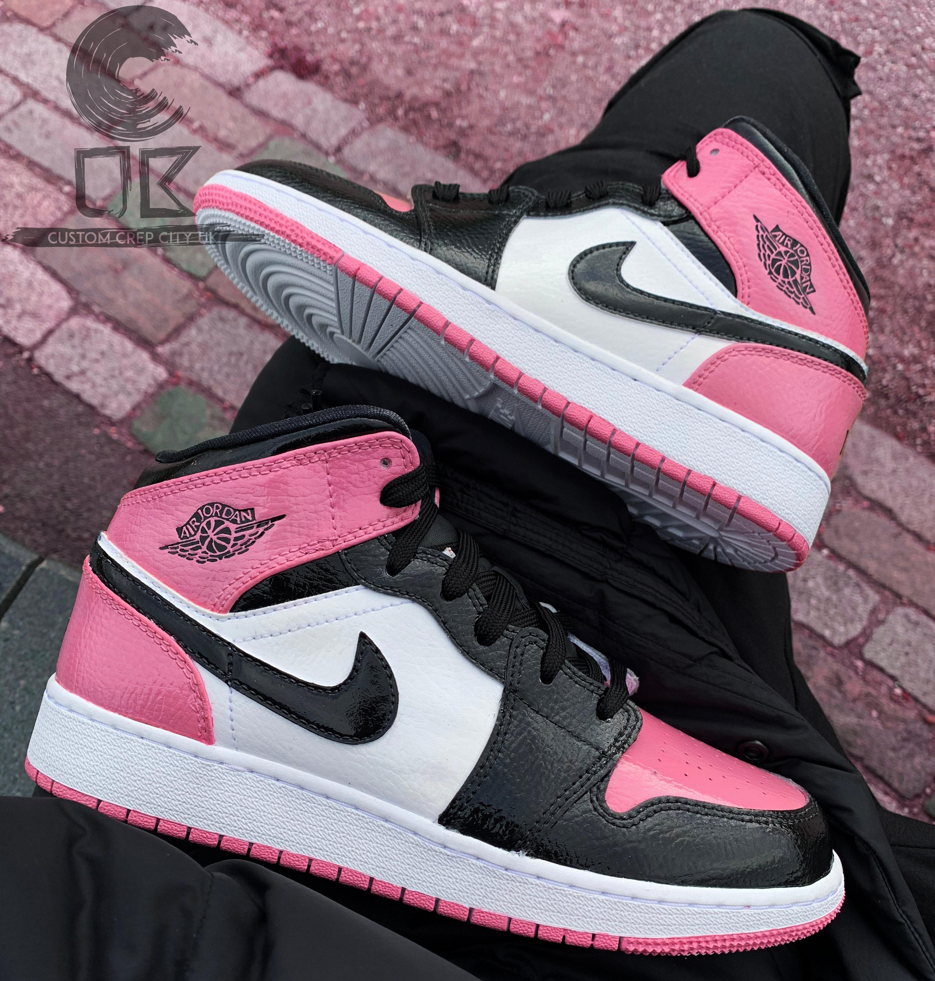 Custom Air Jordan 1 Mid (Pink \u0026 Black