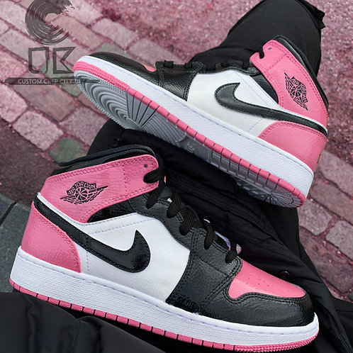 Custom Air Jordan 1 Mid (Pink & Black)