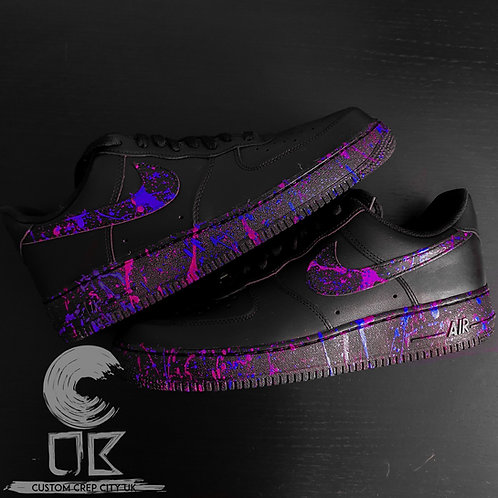 Custom Nike Air Force 1 Low (Pink and Purple Paint Splatter)
