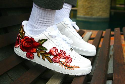 85b82ee6f1 Custom Nike Air Force 1 (Red Rose Embroidery)