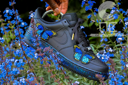 Custom Nike Air Force 1 Low (Blue Butterfly)