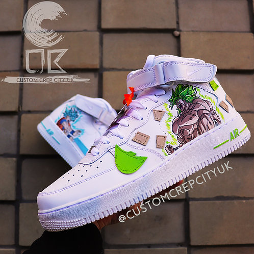 Custom Nike Air Force 1 Mid (DBZ Broly x Goku)