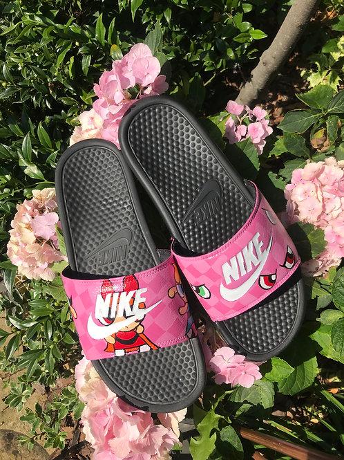 Custom Nike Benassi Slides (Powerpuff Girls Sliders)
