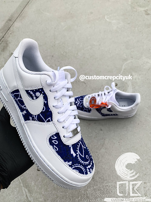 Custom Nike Air Force 1 Low (Blue Bandana)