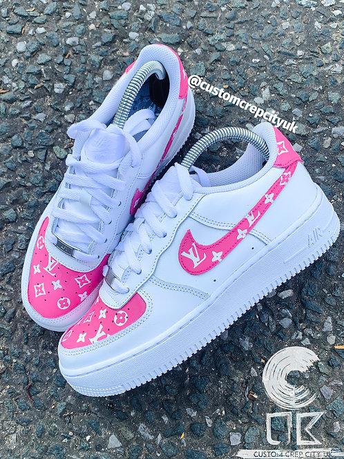 Custom Nike Air Force 1 Low (Pink LV)
