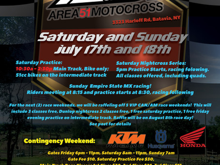 Our Next Race Weekend! July 17th and 18th!
