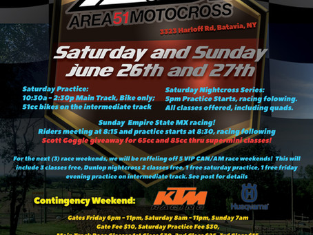 Our Next Race Weekend! June 26 and 27!