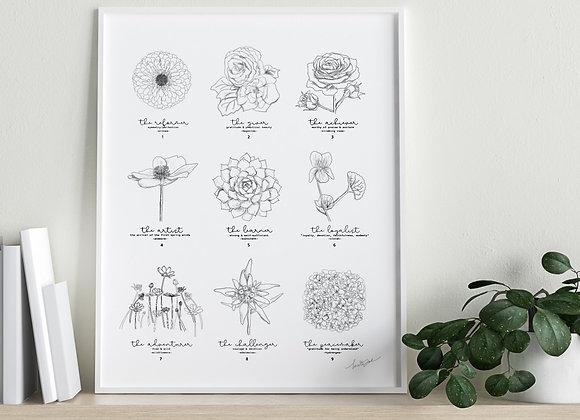 """Enneagram """"The Nine Types"""" Flower Art"""